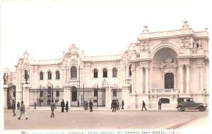 Peru Old Vintage Antique Post Card Palacio de Gobierno, Real Photo Lima Unused