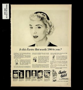 1953 Charles Antell Lanolin Products Easter Hat Vintage Print Ad 015738