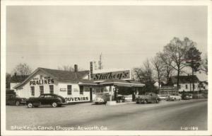Acworth GA Stuckey's Candy Shoppe & Gas Station Cars Real Photo Postcard