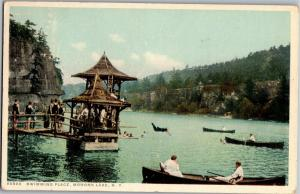 Swimming Place Lake, Canoes, Mohonk Lake NY c1919 Vintage Postcard P06