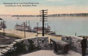 Tennessee Memphis Mississippi River and Eads Bridge From Confederate Park 191...