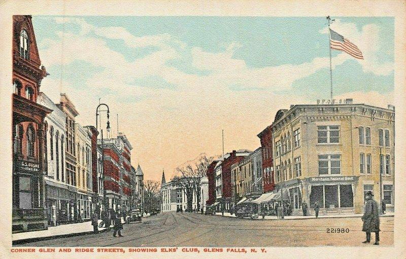 GLEN FALLS NY~CORNER GLEN & RIDGE STREETS SHOWING ELKS CLUB & BANK~POSTCARD