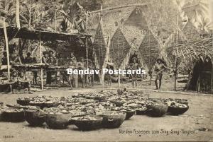 german new guinea, Sing-Sing Dance Festival, Feast Meal, Papua Huts (1910s)