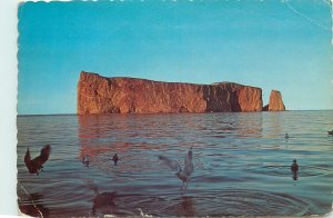 Postcard Canada Quebec Perce Rock at sunset
