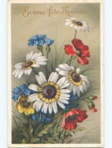 Very Old Foreign Postcard BEAUTIFUL FLOWERS SCENE AA4616