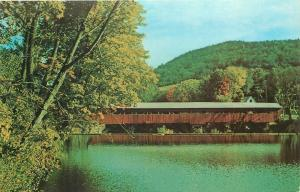 Taftsville Vermont~Covered Bridge Reflects in Water of Williams River~1960s PC
