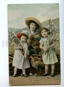244240 EASTER Kids Girl w/ Hen BUNNY Rabbit Vintage PHOTO PC