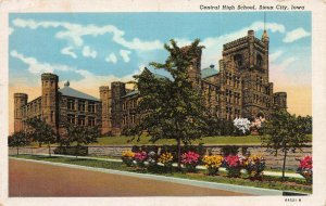 Central High School, Sioux City, Iowa, Early Postcard, Used in 1948