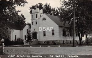 Indiana In Real Photo RPPC Postcard c30-40s DE MOTTE First Reformed Church