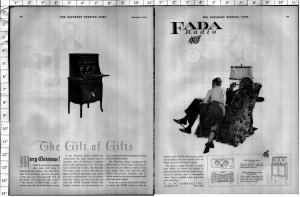 1924 Fada Radio the Gift of Gifts Huge Vintage Print Ad 4012
