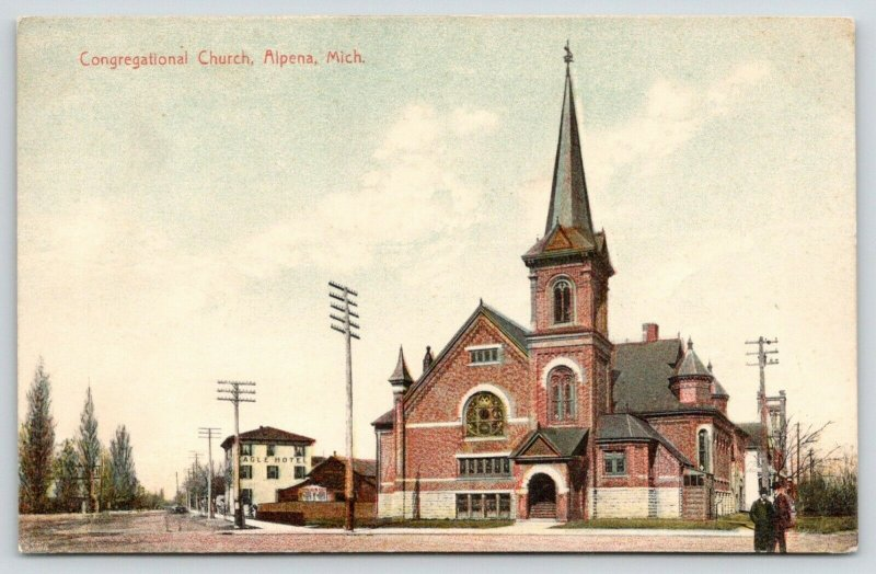 Alpena MI~Eagle Hotel~Congregational Church~Booth Entrance~Telephone Poles 1908