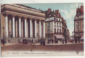 P877 old view card france nantes-la theatre et la rue crebillon-LL