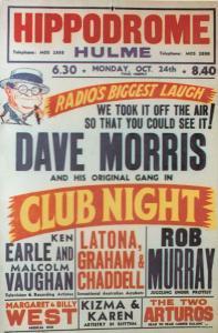 Dave Morris Live at Hulme Hippodrome Radio Show Theatre Poster Postcard