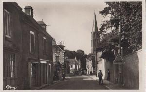 Bernieres Sur Mer Normandy Grand Rue Roadsign Bicycle French Real Photo Postcard