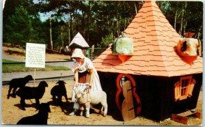 Lake George, NY Amusement Park Postcard STORYTOWN U.S.A. Baa-Baa Black Sheep