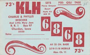 QSL KLH 6868 Charlie & Phyllis Mischke Churdan Iowa