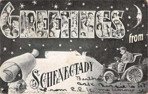 Schenectady New York Greetings Large Letter Antique Postcard K82476