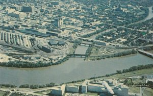 WINNIPEG, Manitoba, 50-60s; Aerial View, St. Boniface Hospital, Rivers Junction