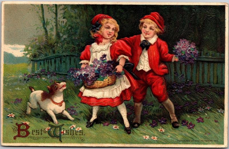 Best Wishes, Boy and Girl Basket Flowers Dog Embossed c1911 Vintage Postcard J03