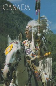 Alberta Canada Hunting Alberta Cree Indian White Horse Headdress Postcard
