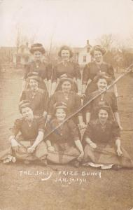 The Jolly Prize Bunch~9 Victorian Ladies~Riding Crops~Uniforms~Jan 30 1911~RPPC