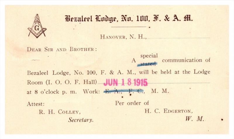 New Hampshire   Hanover  Bezaleel  Lodge no.100