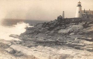 LPS25 Pemaquid Point Maine Lighthouse Postcard RPPC