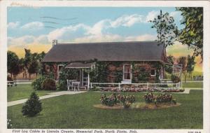First Log Cabin in Lincoln County, Memorial Park, North Platte, Nebraska, PU-...