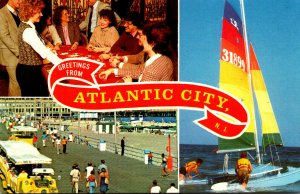 New Jersey Atlantic City Greetings Showing Blackjack Game Boardwalk View and ...
