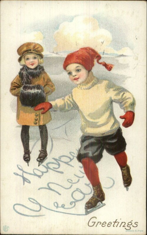 New Year - Children Ice Skating c1910 Postcard 35D