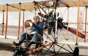 Billy Parker, Pioneer Aviator, Operating 1912 Model Airplane