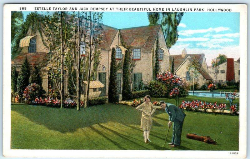 HOLLYWOOD, Laughlin Park, CA   Home ESTELLE TAYLOR, JACK DEMPSEY  1920s Postcard