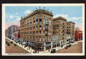 VA Monticello Hotel NORFOLK VIRGINIA Postcard PC