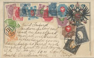 Russia, Stamps on Embossed Postcard, Used in 1907, Published by Ottmar Zieher