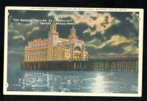 Revere, Massachusetts/Mass/MA Postcard, Pier Dancing Pavilion By Moonlight