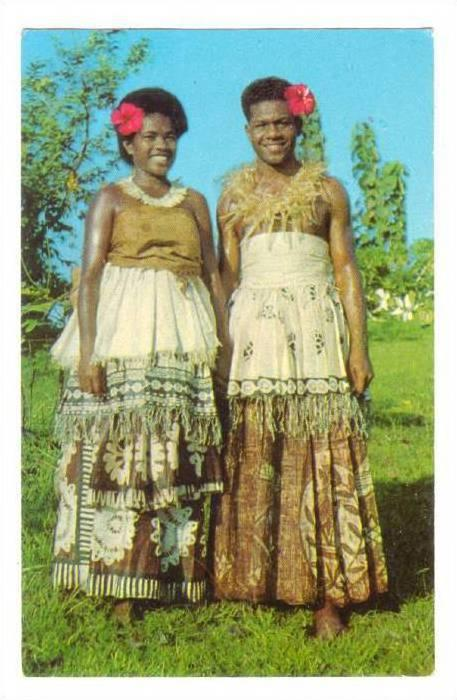 Women wearing Tapa cloth, Fiji, 40-60s