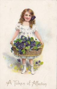 Token Of Affection Young Girl With Basket Of Flowers Tucks Love Missives Series