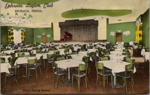 Ephrata Pennsylvania~Legion Club~Main Dining Room~Baby Grand on Stage~1940 Linen