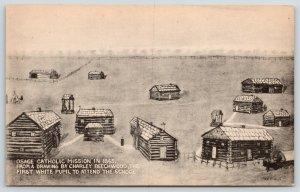 St Paul KS~Osage Indian Catholic Mission~Civil War~1st White Pupil Drawing~1865