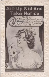 Woman holding two of clubs, Sit-Up-Kid-And-Take-Notice, 1921