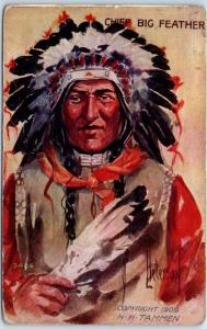 Artist-Signed Peterson Native Americana Postcard CHIEF BIG FEATHER 1913 Cancel