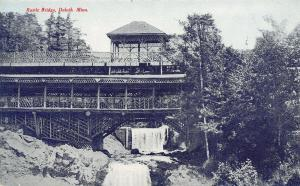 Duluth Minnesota~Multi Level Rustic Bridge~Water Falls~1910 Tom Jones Postcard
