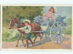 Pre-Linen DONKEY PULLS GIRL ON FLOWER CART AC2138
