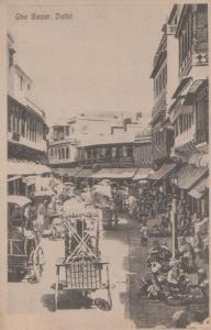 Delhi Bazar Street Scene Indian Postcard