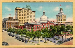 Florida Tampa Court House Square Showing City Hall and Tampa Terrace Hotel Cu...