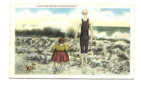 Tall Thin Man, Short Fat Woman, Small Dog, Cartoon, What Are The Wild Waves S...