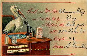 1910 Fremont Ohio Postcard: Birth Announcement for E. Franklin Fry