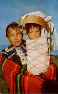 Arizona Navajo Indian Mother With Baby On Cradle Board