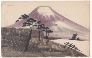 Japan; Hand Painted View of Mount Fuji PPC, Maidstone 1924 PMK
