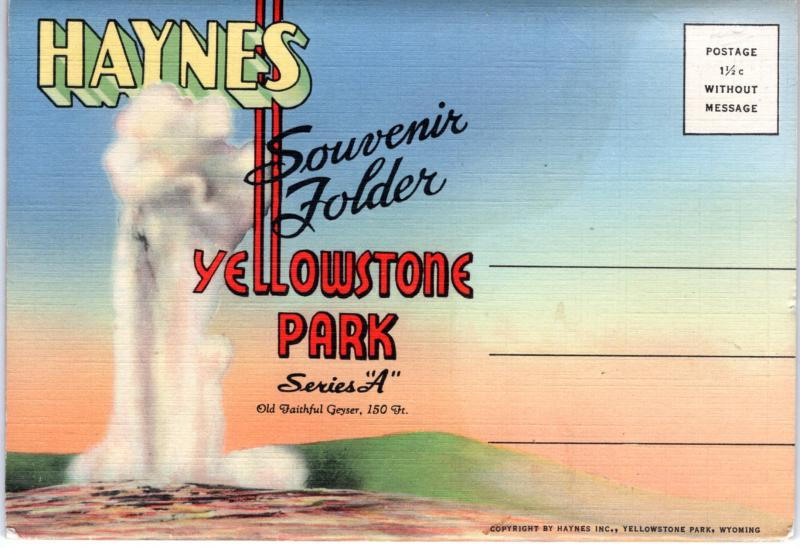 YELLOWSTONE NATIONAL PARK, SOUVENIR FOLDER, SERIES A